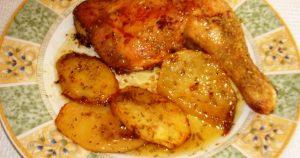 pollo asado con papas